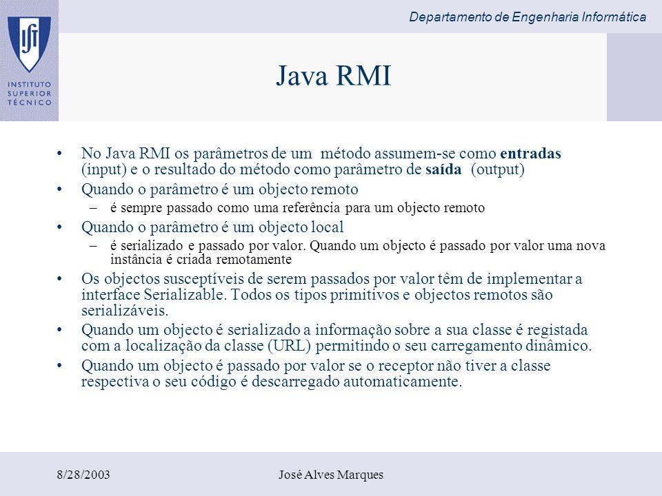 Departamento de Engenharia Informática 8/28/2003José Alves Marques Java RMI No Java RMI os parâmetros de um método assumem-se como entradas (input) e