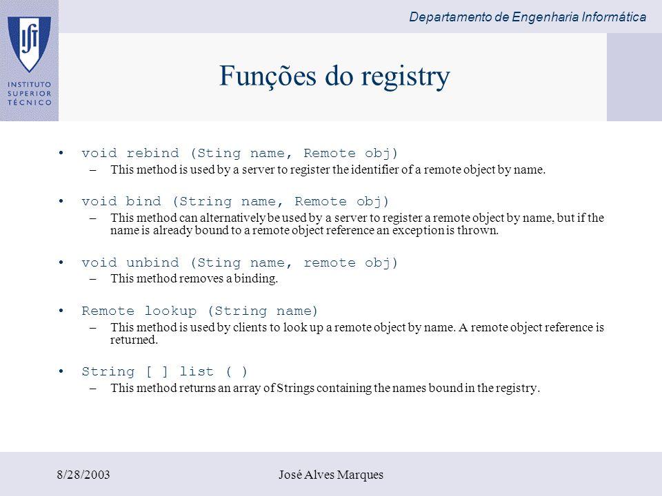 Departamento de Engenharia Informática 8/28/2003José Alves Marques Funções do registry void rebind (Sting name, Remote obj) –This method is used by a