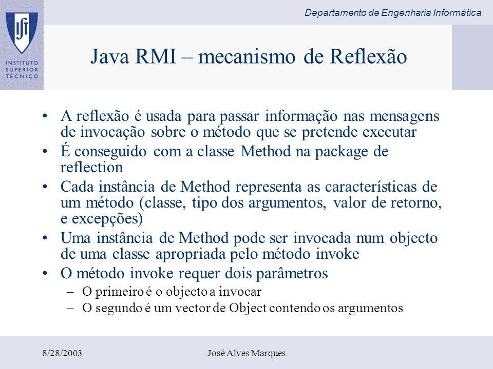 Departamento de Engenharia Informática 8/28/2003José Alves Marques Java RMI – mecanismo de Reflexão A reflexão é usada para passar informação nas mens