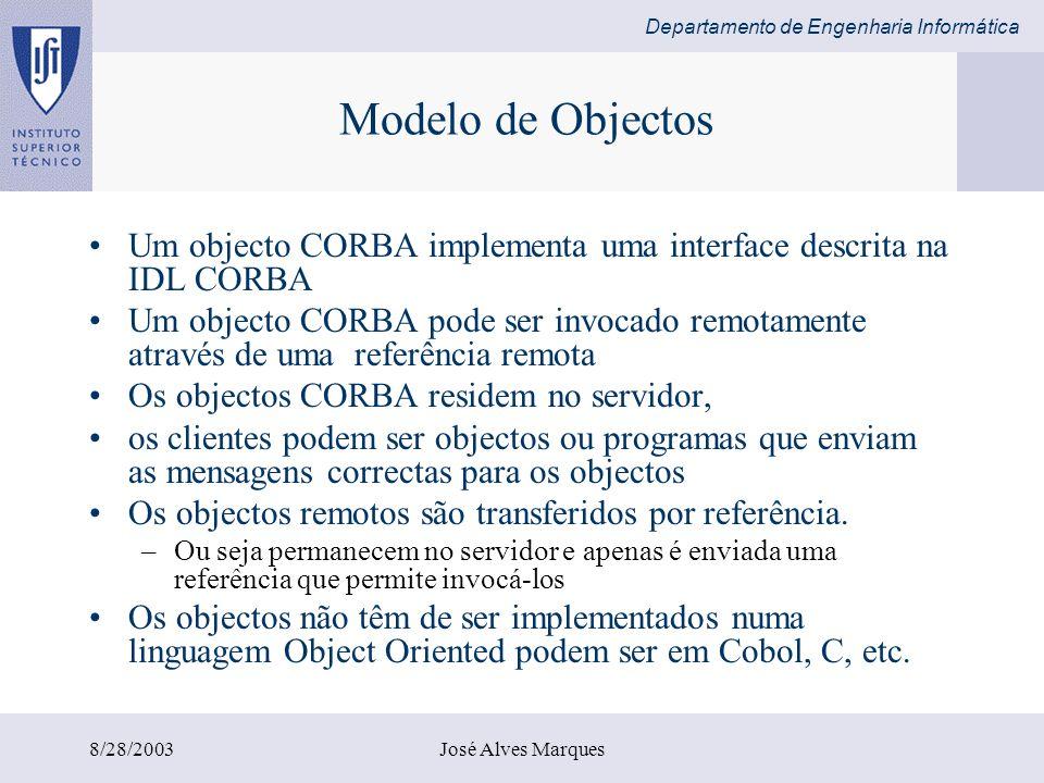 Departamento de Engenharia Informática 8/28/2003José Alves Marques CORBA IDL A interface é escrita em OMG IDL –A interface é object-oriented com sintaxe muito semelhante ao C++ A herança é suportada –Especifica um nome de uma interface e um conjunto de métodos que os clientes podem invocar –Descreve os parâmetros e o respectivo sentido in, out, inout –Os métodos podem ter excepções