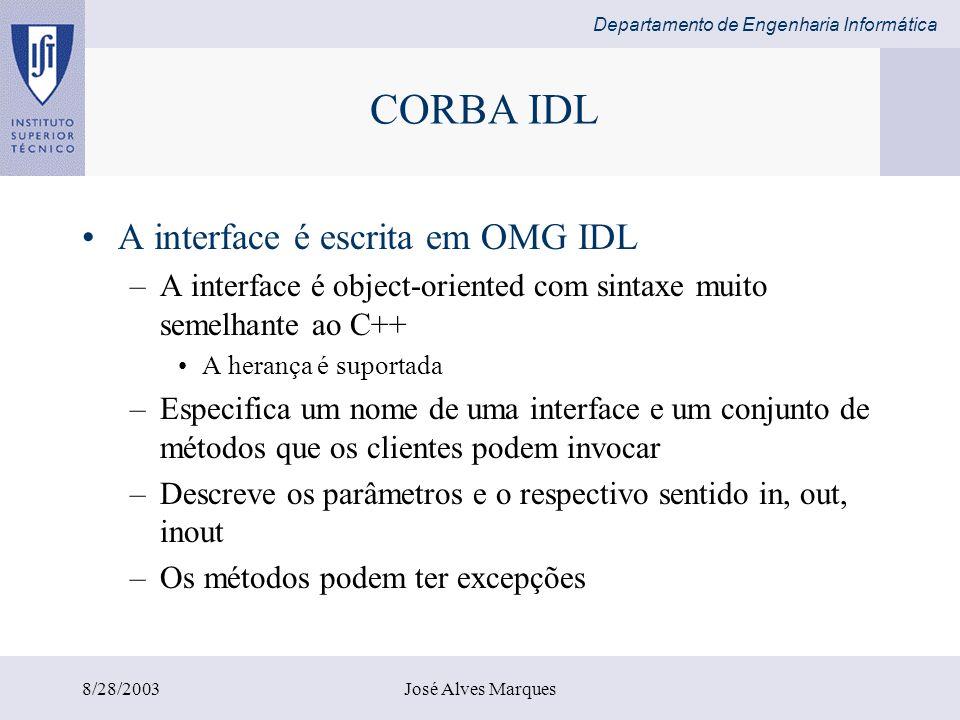 Departamento de Engenharia Informática 8/28/2003José Alves Marques import java.rmi.*; import java.rmi.server.UnicastRemoteObject; Import java.util.Vector; public class ShapeListServant extends UnicastRemoteObject implements ShapeList { private Vector theList; //contains the list of Shapes private int version; public ShapeListServant()throws RemoteException{...} public Shape newShape(GraphicalObject g) throws RemoteException { version++; Shape s = new ShapeServant( g, version); theList.addElement(s); return s; } public Vector allShape()throws RemoteException{...} public int getVersion() throws RemoteException{...} } Classe ShapeListServant implementa a interface ShapeList