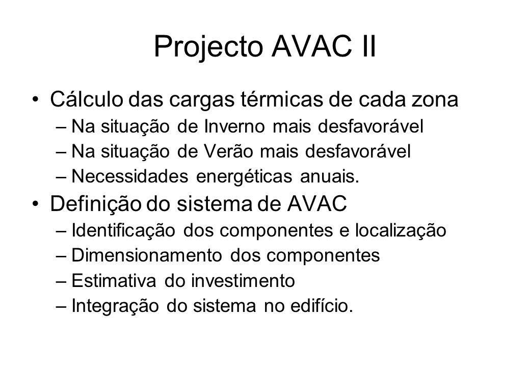 Projecto AVAC II Cálculo das cargas térmicas de cada zona –Na situação de Inverno mais desfavorável –Na situação de Verão mais desfavorável –Necessida