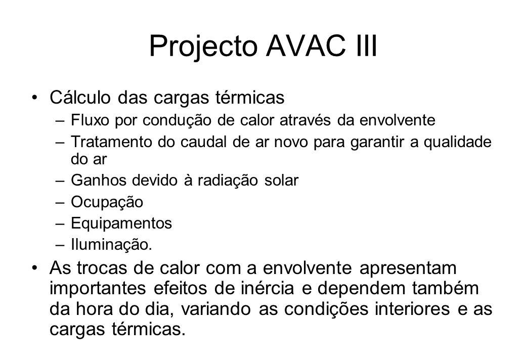 Projecto AVAC III Cálculo das cargas térmicas –Fluxo por condução de calor através da envolvente –Tratamento do caudal de ar novo para garantir a qual