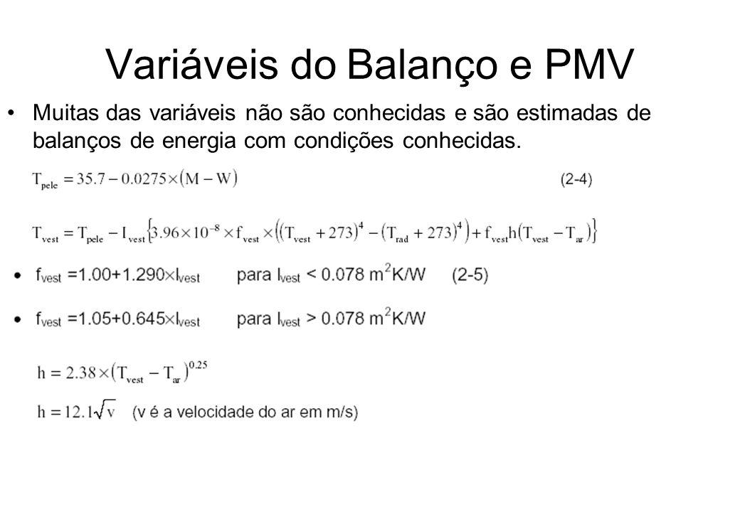 Variáveis do Balanço e PMV Muitas das variáveis não são conhecidas e são estimadas de balanços de energia com condições conhecidas.