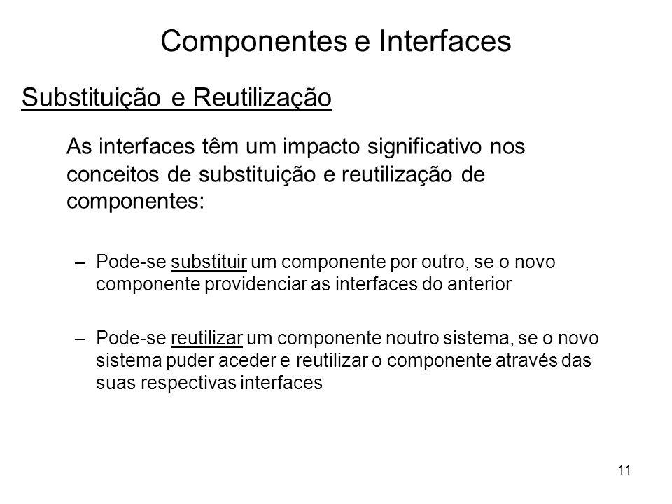 11 Componentes e Interfaces As interfaces têm um impacto significativo nos conceitos de substituição e reutilização de componentes: –Pode-se substitui