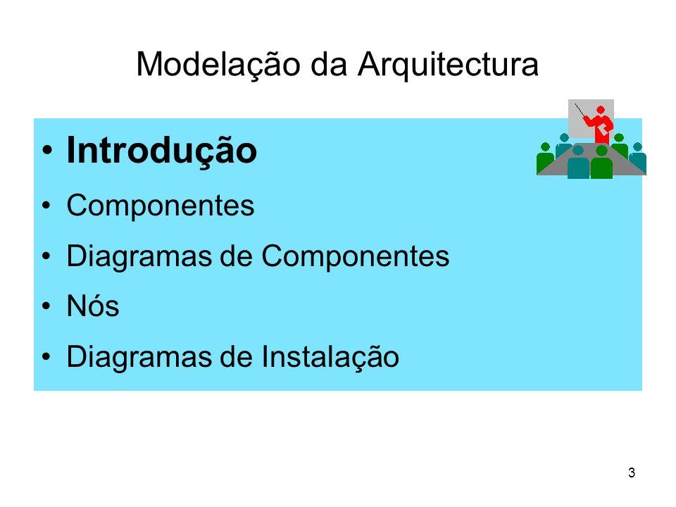4 Diagramas de Arquitectura Diagramas de arquitectura (ou estrutura) permitem A descrição física do software: Os diagramas de componentes são usados para modelar a arquitectura de um sistema na perspectiva dos seus componentes de software (e.g., ficheiros de código fonte, de executáveis, de configuração, tabelas de dados, documentos de gestão do projecto), explicitando principalmente as suas múltiplas dependências.