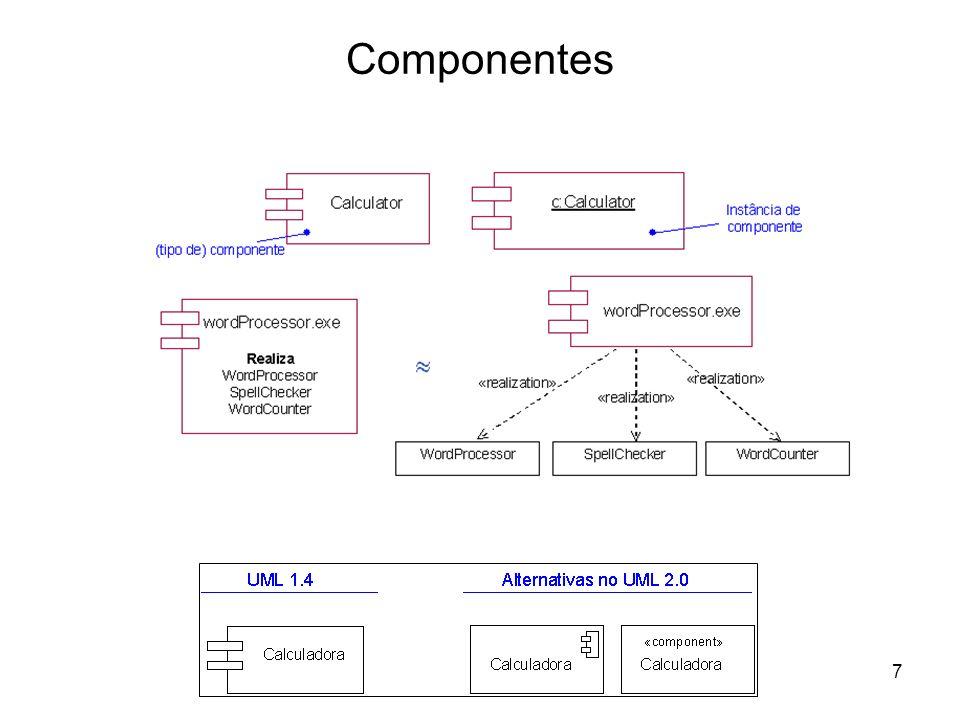 38 A propósito dos Diagramas de Arquitectura Estes diagramas podem também ser aplicados na modelação de negócios e de organizações em que –os componentes de código representam os procedimentos e regras de negócio; –os nós (isto é, os componentes não digitais) representam a infra- estrutura da organização através de um conjunto de recursos do negócio (humanos e outros).