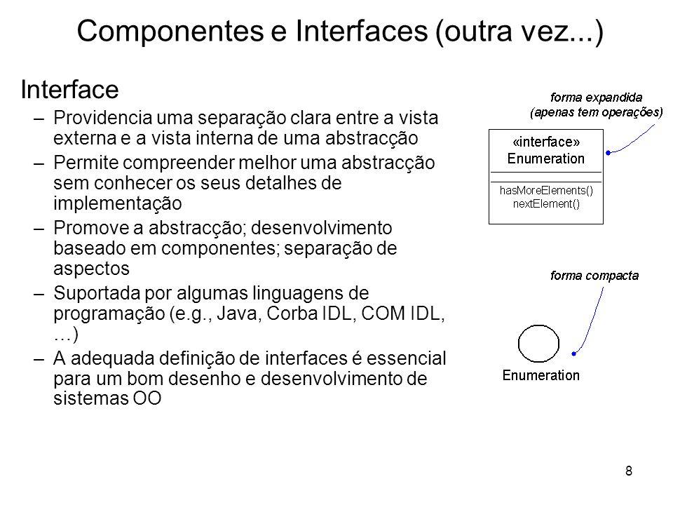 8 Componentes e Interfaces (outra vez...) Interface –Providencia uma separação clara entre a vista externa e a vista interna de uma abstracção –Permit