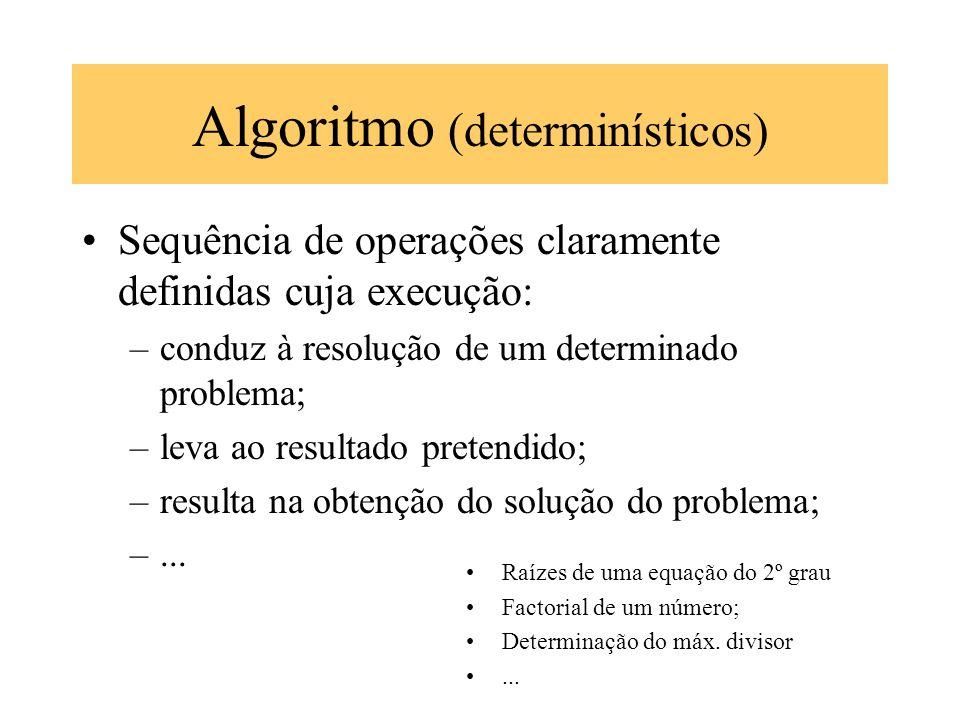 Algoritmo (determinísticos) Sequência de operações claramente definidas cuja execução: –conduz à resolução de um determinado problema; –leva ao result