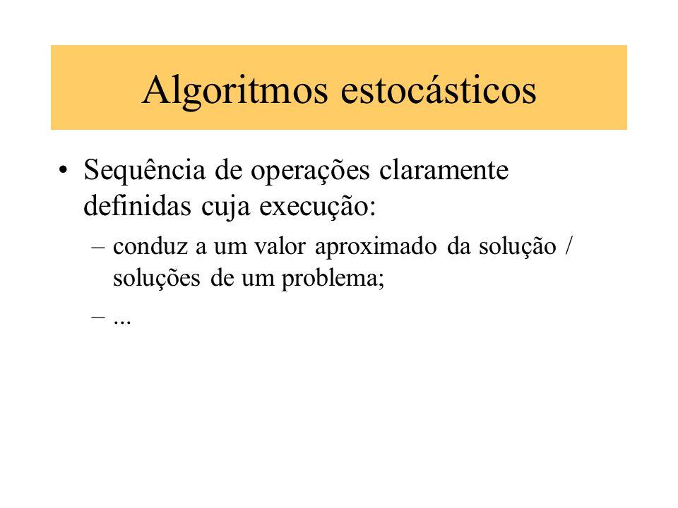 Algoritmos estocásticos Sequência de operações claramente definidas cuja execução: –conduz a um valor aproximado da solução / soluções de um problema;