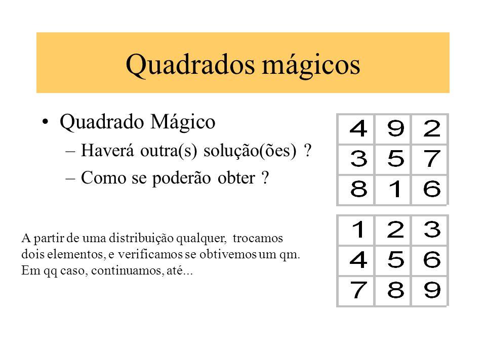 Quadrados mágicos Quadrado Mágico –Haverá outra(s) solução(ões) ? –Como se poderão obter ? A partir de uma distribuição qualquer, trocamos dois elemen