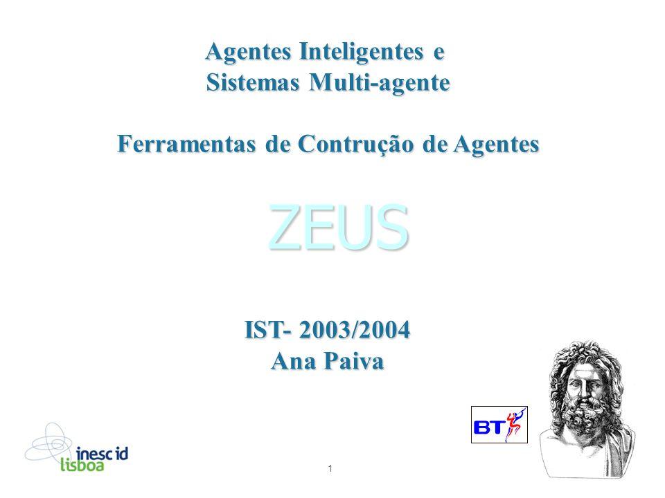 1 ZEUS Agentes Inteligentes e Sistemas Multi-agente Ferramentas de Contrução de Agentes IST- 2003/2004 Ana Paiva