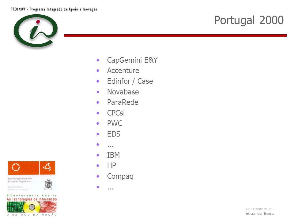 27-01-2002 20:29 Eduardo Beira Portugal 2000 CapGemini E&Y Accenture Edinfor / Case Novabase ParaRede CPCsi PWC EDS... IBM HP Compaq...