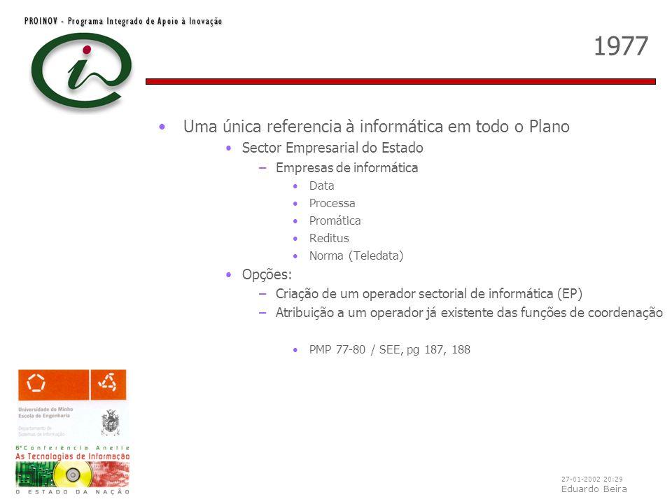 27-01-2002 20:29 Eduardo Beira 1977 Uma única referencia à informática em todo o Plano Sector Empresarial do Estado –Empresas de informática Data Proc
