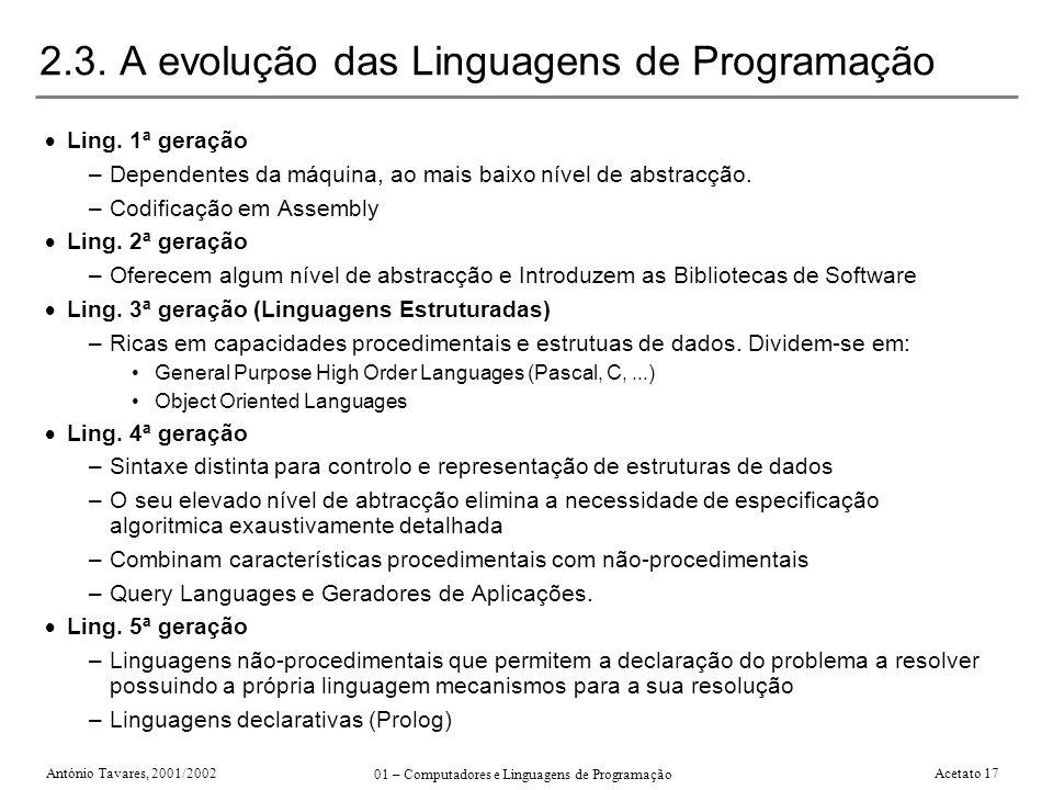 António Tavares, 2001/2002 01 – Computadores e Linguagens de Programação Acetato 17 2.3. A evolução das Linguagens de Programação Ling. 1ª geração –De