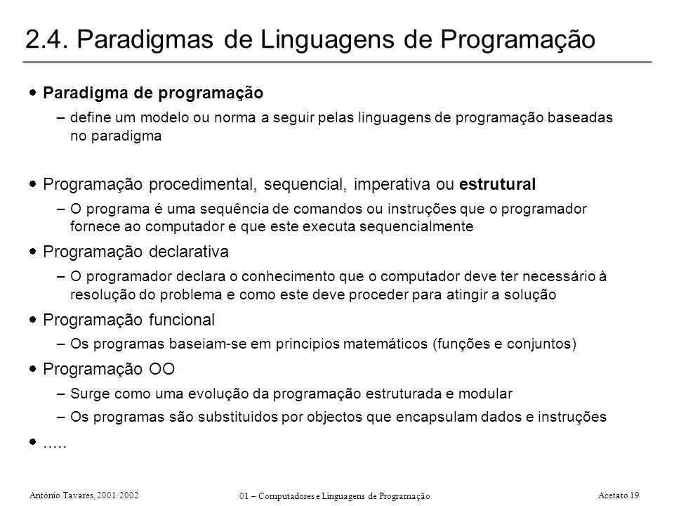 António Tavares, 2001/2002 01 – Computadores e Linguagens de Programação Acetato 19 2.4. Paradigmas de Linguagens de Programação Paradigma de programa