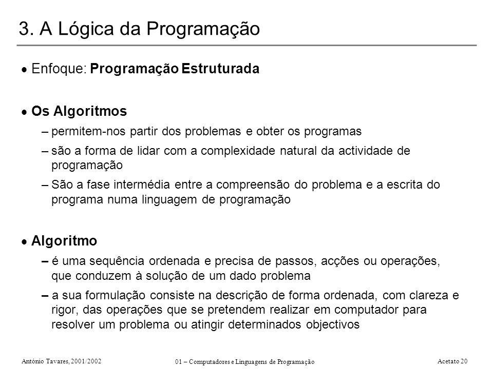António Tavares, 2001/2002 01 – Computadores e Linguagens de Programação Acetato 20 3. A Lógica da Programação Enfoque: Programação Estruturada Os Alg