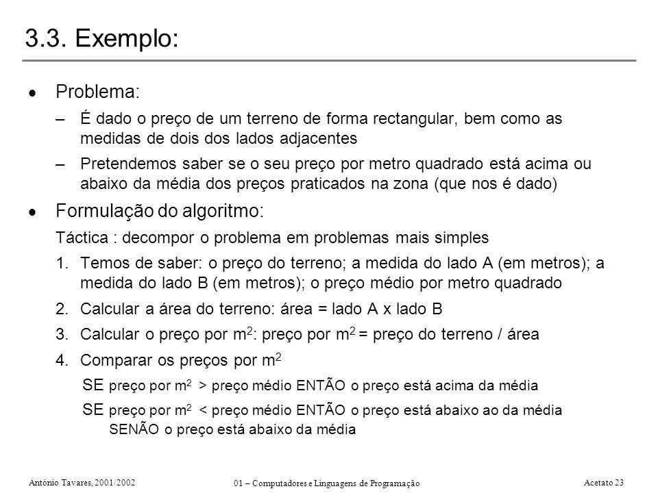 António Tavares, 2001/2002 01 – Computadores e Linguagens de Programação Acetato 23 3.3. Exemplo: Problema: –É dado o preço de um terreno de forma rec
