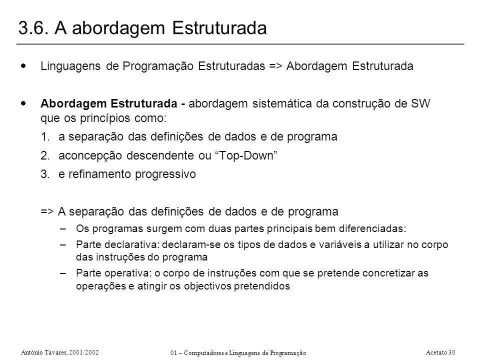 António Tavares, 2001/2002 01 – Computadores e Linguagens de Programação Acetato 30 3.6. A abordagem Estruturada Linguagens de Programação Estruturada