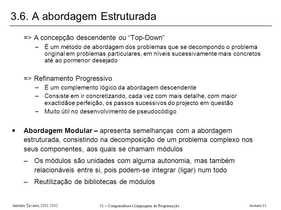 António Tavares, 2001/2002 01 – Computadores e Linguagens de Programação Acetato 31 3.6. A abordagem Estruturada => A concepção descendente ou Top-Dow