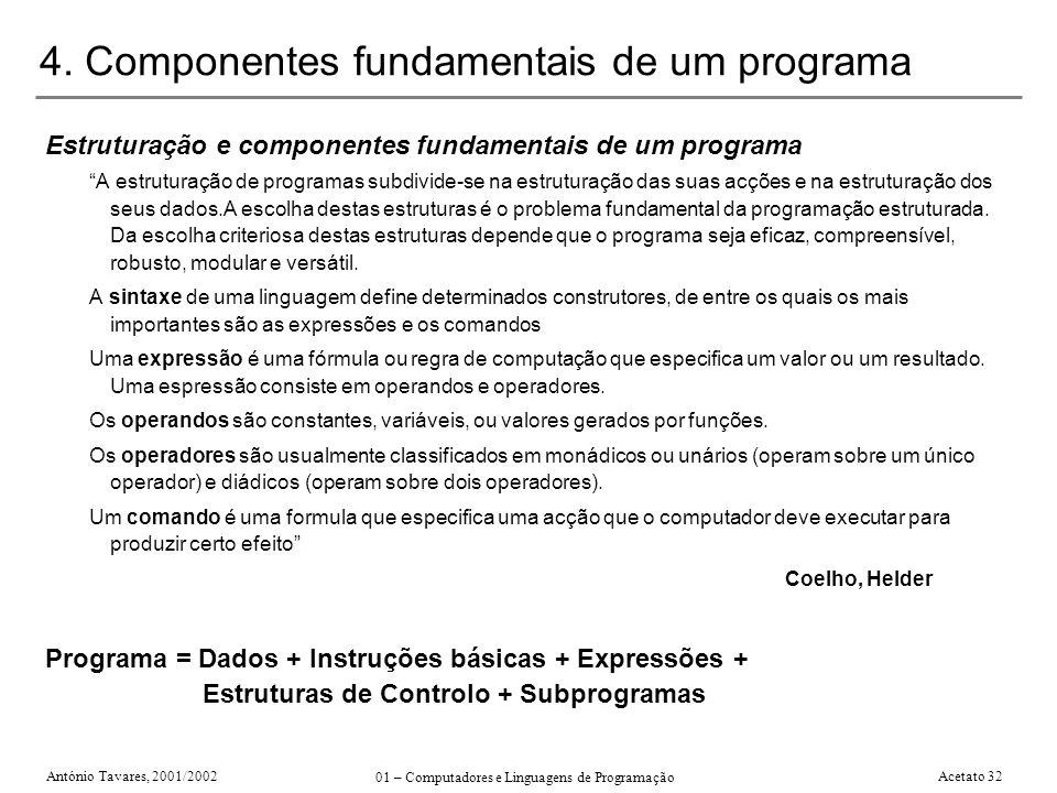 António Tavares, 2001/2002 01 – Computadores e Linguagens de Programação Acetato 32 4. Componentes fundamentais de um programa Estruturação e componen