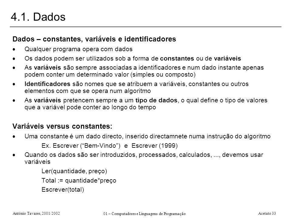 António Tavares, 2001/2002 01 – Computadores e Linguagens de Programação Acetato 33 4.1. Dados Dados – constantes, variáveis e identificadores Qualque