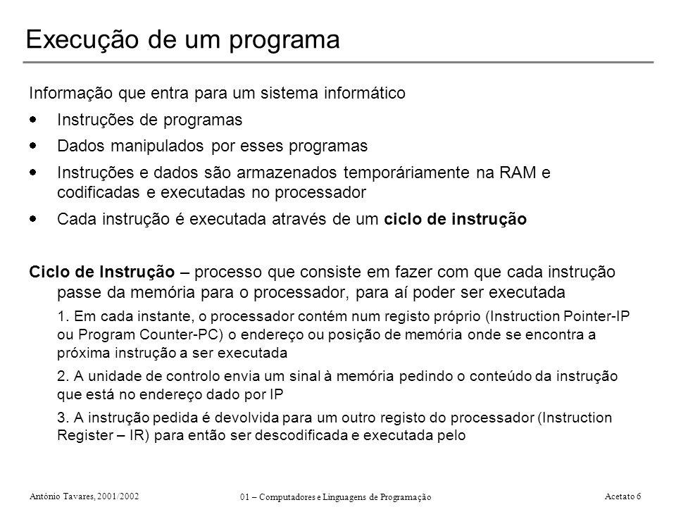 António Tavares, 2001/2002 01 – Computadores e Linguagens de Programação Acetato 6 Execução de um programa Informação que entra para um sistema inform