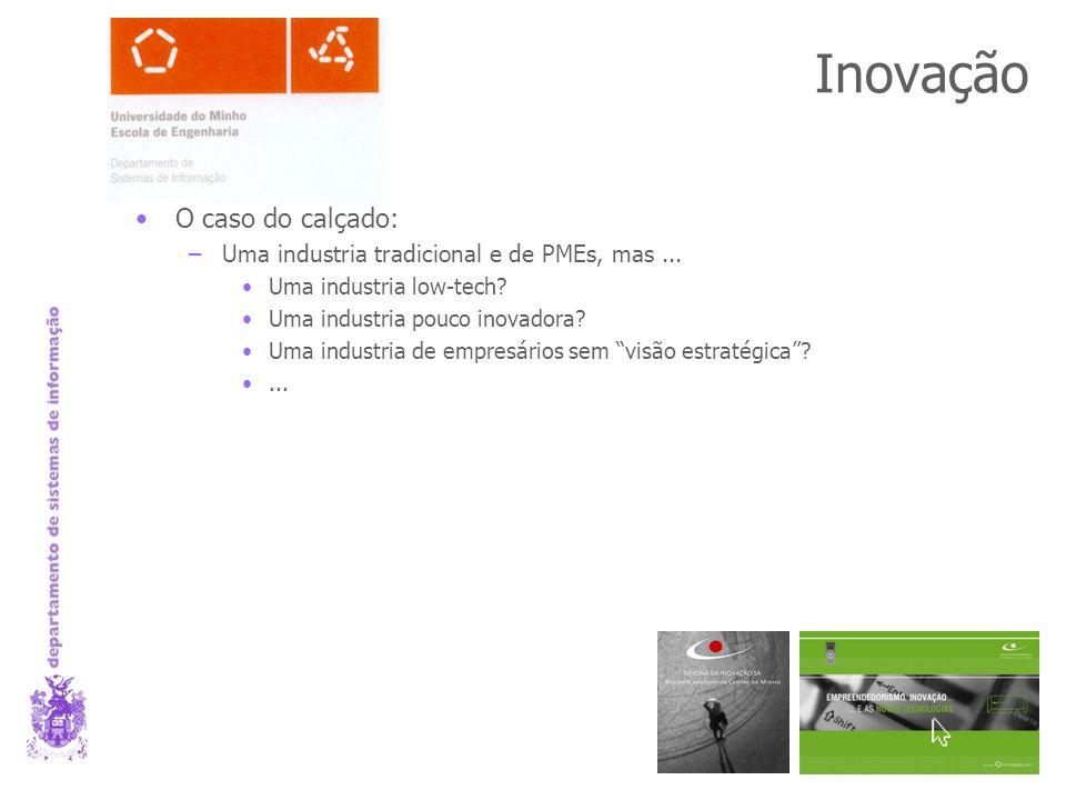 Inovação O caso do calçado: –Uma industria tradicional e de PMEs, mas...