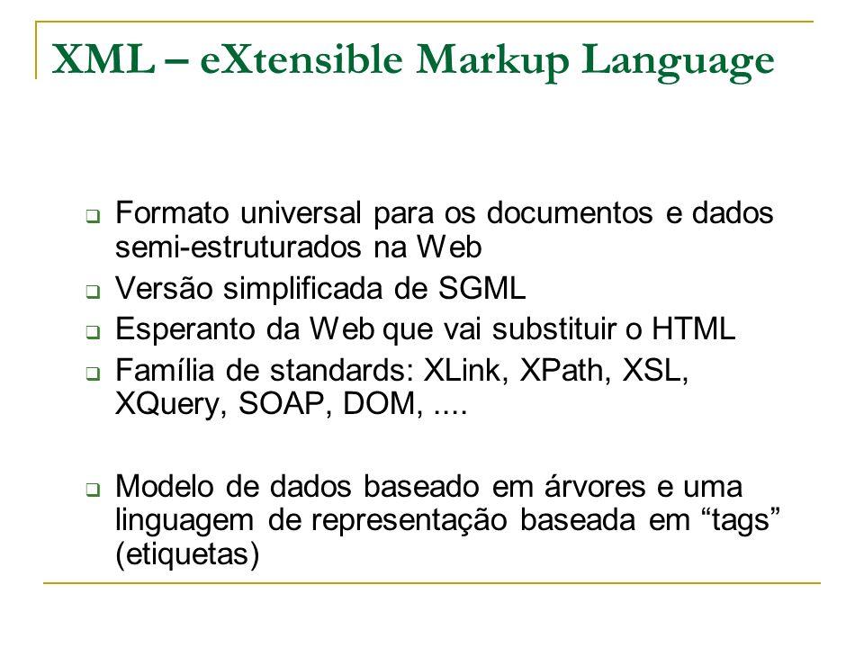 XML – eXtensible Markup Language Formato universal para os documentos e dados semi-estruturados na Web Versão simplificada de SGML Esperanto da Web qu