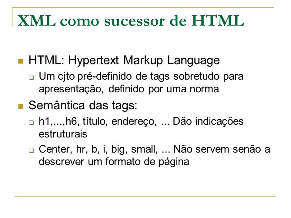 XML como sucessor de HTML HTML: Hypertext Markup Language Um cjto pré-definido de tags sobretudo para apresentação, definido por uma norma Semântica d