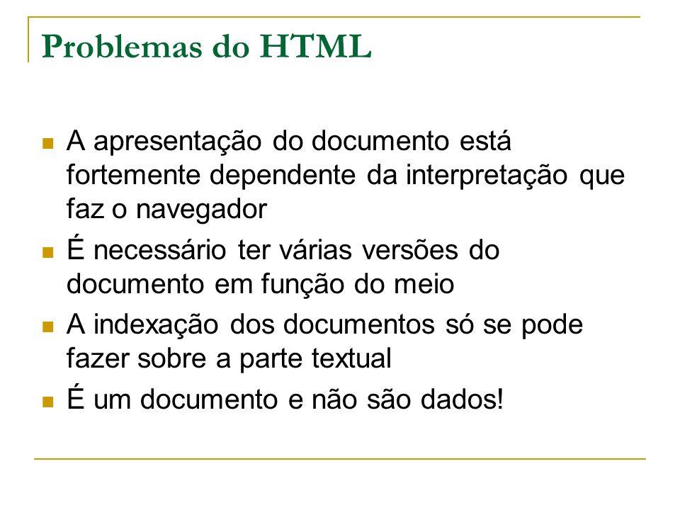 Problemas do HTML A apresentação do documento está fortemente dependente da interpretação que faz o navegador É necessário ter várias versões do docum
