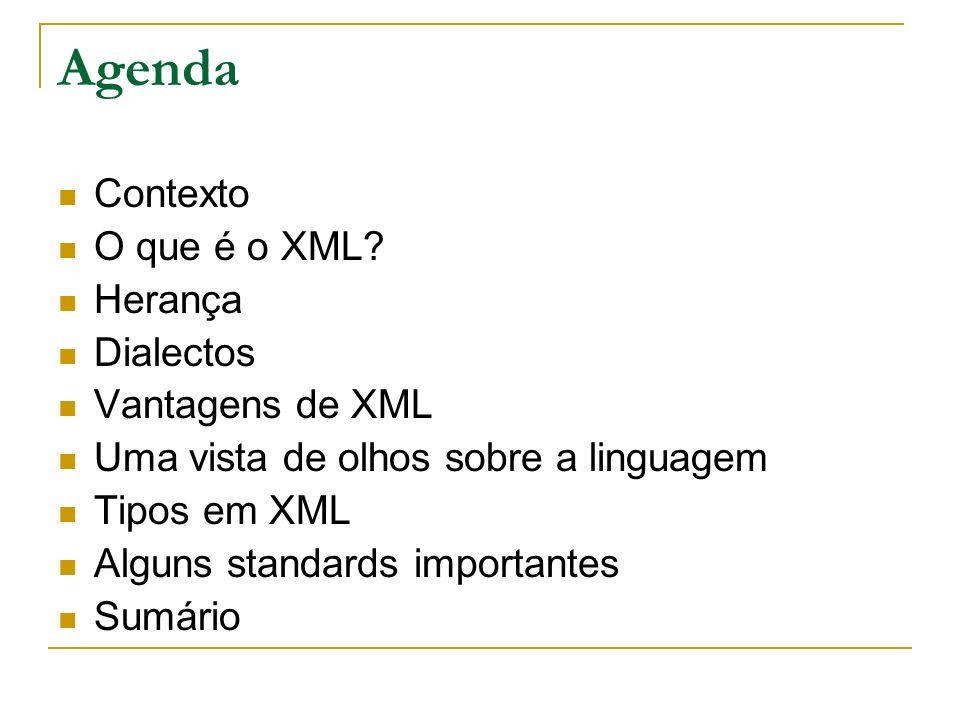 Agenda Contexto O que é o XML? Herança Dialectos Vantagens de XML Uma vista de olhos sobre a linguagem Tipos em XML Alguns standards importantes Sumár