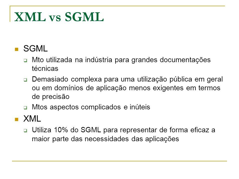 XML vs SGML SGML Mto utilizada na indústria para grandes documentações técnicas Demasiado complexa para uma utilização pública em geral ou em domínios