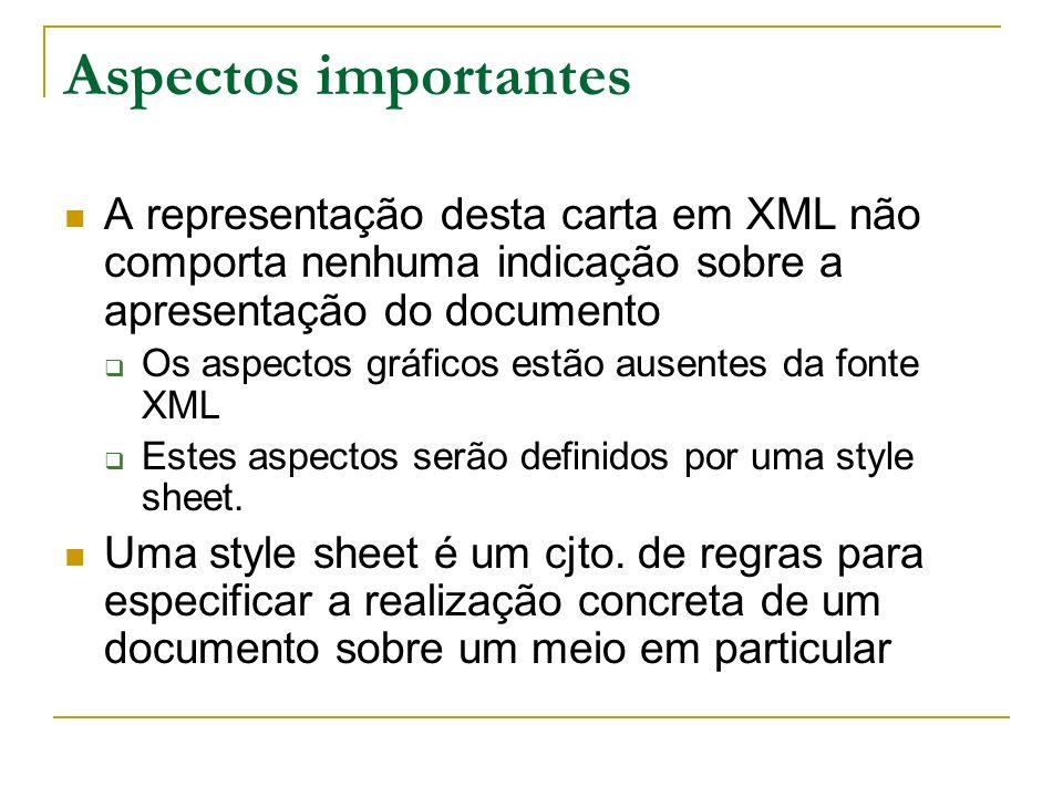 Aspectos importantes A representação desta carta em XML não comporta nenhuma indicação sobre a apresentação do documento Os aspectos gráficos estão au