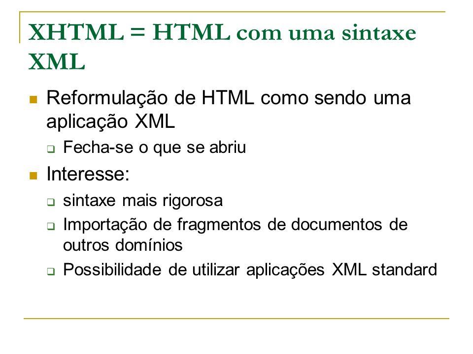 XHTML = HTML com uma sintaxe XML Reformulação de HTML como sendo uma aplicação XML Fecha-se o que se abriu Interesse: sintaxe mais rigorosa Importação