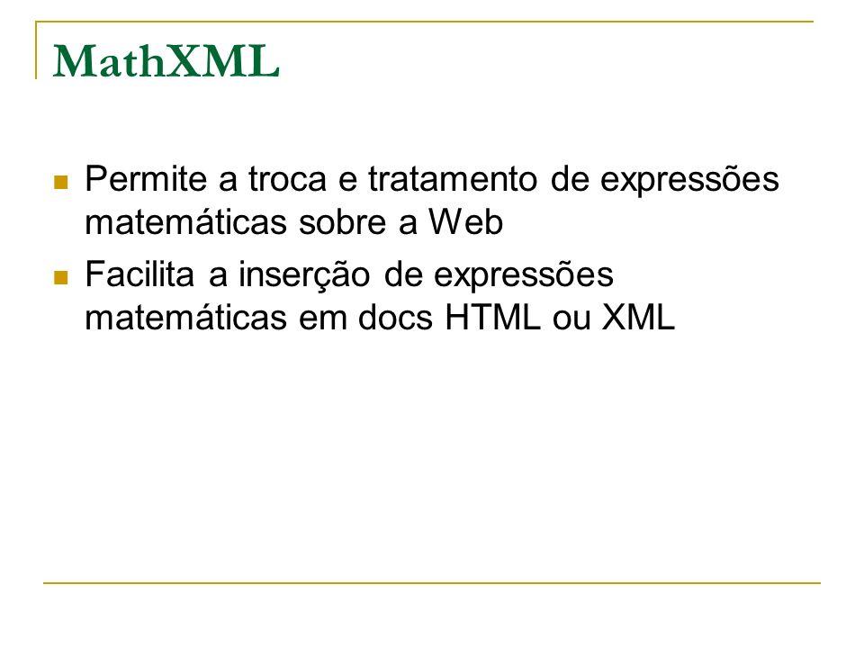 MathXML Permite a troca e tratamento de expressões matemáticas sobre a Web Facilita a inserção de expressões matemáticas em docs HTML ou XML