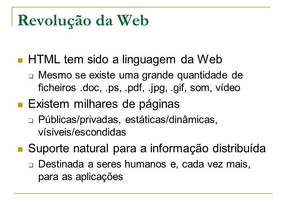 Revolução da Web HTML tem sido a linguagem da Web Mesmo se existe uma grande quantidade de ficheiros.doc,.ps,.pdf,.jpg,.gif, som, vídeo Existem milhar