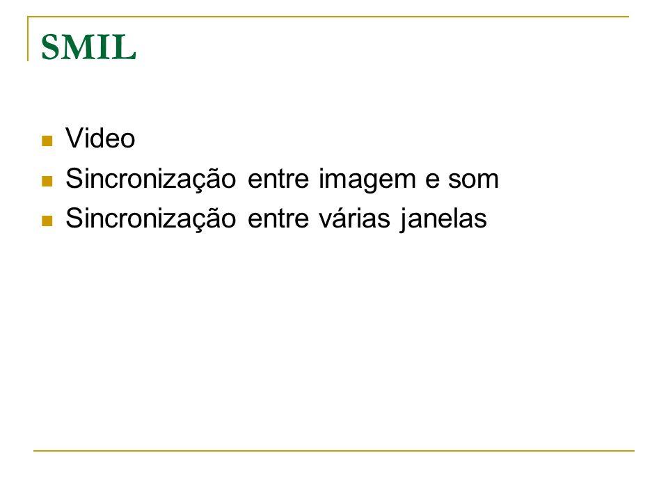 SMIL Video Sincronização entre imagem e som Sincronização entre várias janelas