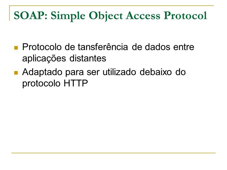 SOAP: Simple Object Access Protocol Protocolo de tansferência de dados entre aplicações distantes Adaptado para ser utilizado debaixo do protocolo HTT