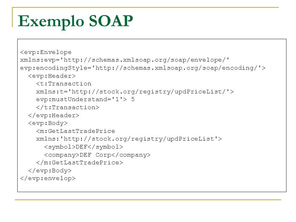 Exemplo SOAP <evp:Envelope xmlns:evp='http://schemas.xmlsoap.org/soap/envelope/' evp:encodingStyle='http://schemas.xmlsoap.org/soap/encoding/'> <t:Tra