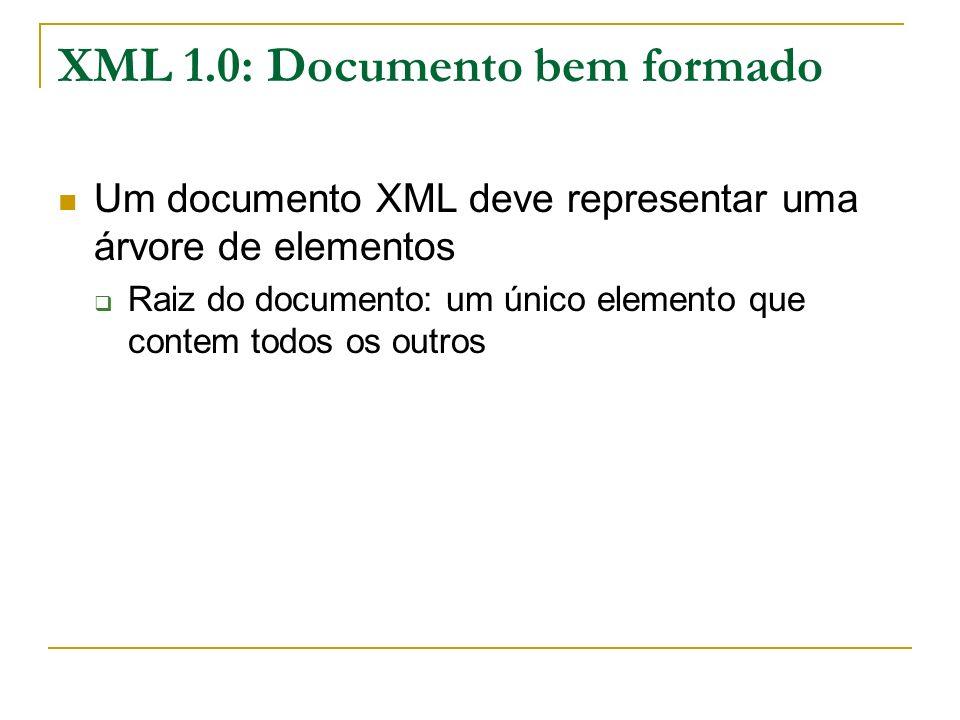 XML 1.0: Documento bem formado Um documento XML deve representar uma árvore de elementos Raiz do documento: um único elemento que contem todos os outr