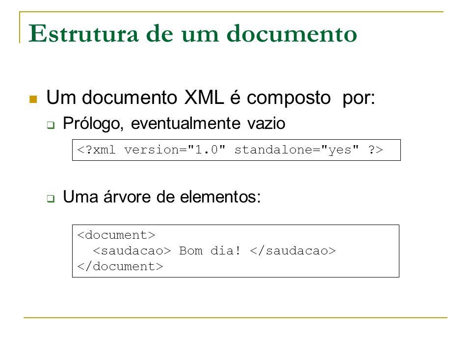 Estrutura de um documento Um documento XML é composto por: Prólogo, eventualmente vazio Uma árvore de elementos: Bom dia!