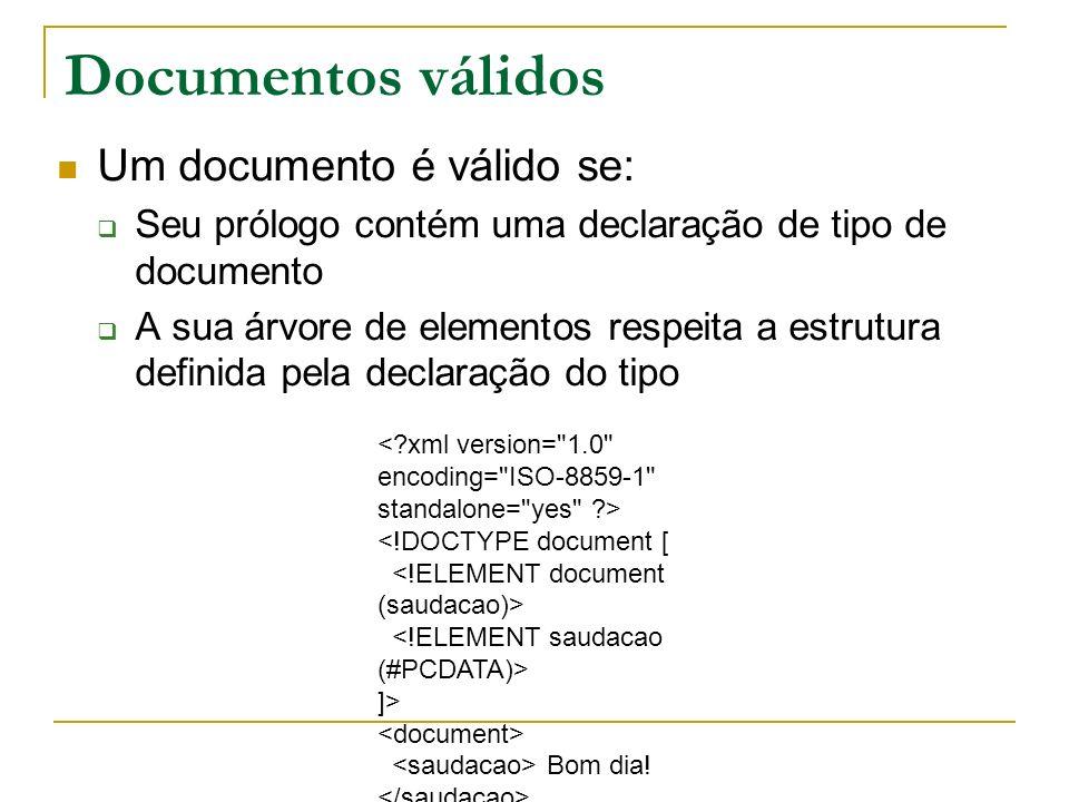 Documentos válidos Um documento é válido se: Seu prólogo contém uma declaração de tipo de documento A sua árvore de elementos respeita a estrutura def