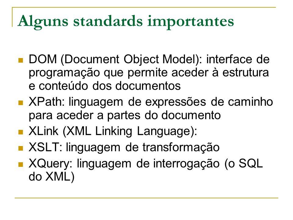 Alguns standards importantes DOM (Document Object Model): interface de programação que permite aceder à estrutura e conteúdo dos documentos XPath: lin