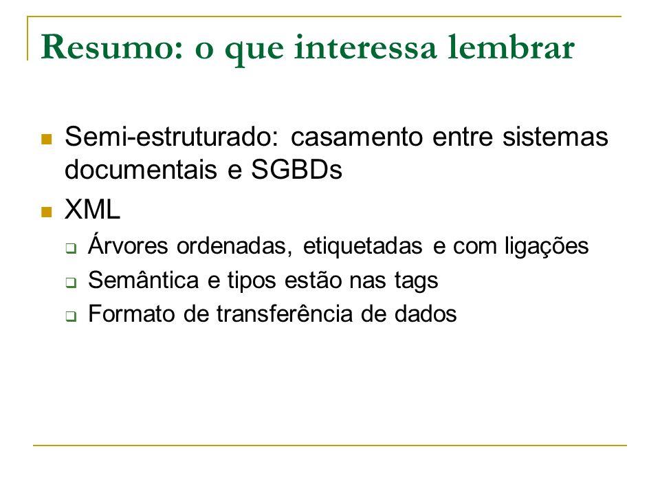 Resumo: o que interessa lembrar Semi-estruturado: casamento entre sistemas documentais e SGBDs XML Árvores ordenadas, etiquetadas e com ligações Semân