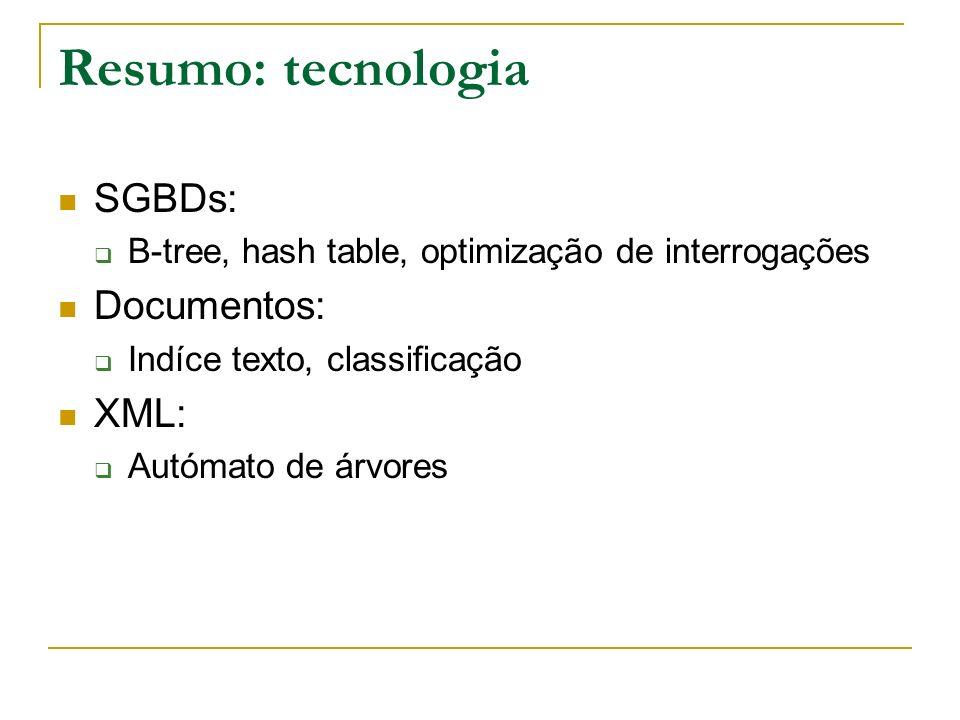 Resumo: tecnologia SGBDs: B-tree, hash table, optimização de interrogações Documentos: Indíce texto, classificação XML: Autómato de árvores