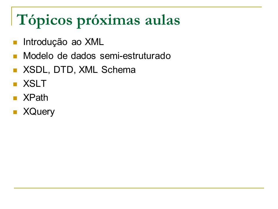 Tópicos próximas aulas Introdução ao XML Modelo de dados semi-estruturado XSDL, DTD, XML Schema XSLT XPath XQuery