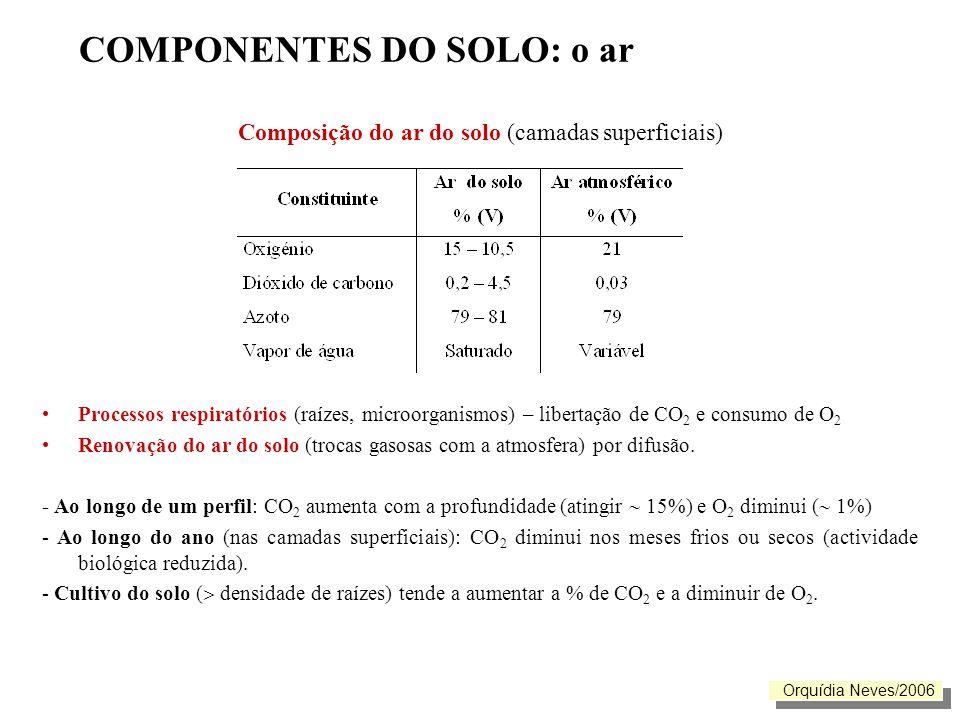 COMPONENTES DO SOLO: o ar Importância da atmosfera do solo Indispensável à vida das plantas: respiração radicular ( 3% de O 2 para as raízes sobrevivem e mais de 10% de O 2 para o seu crescimento) Influencia algumas propriedades do solo: Proporção e tipo de matéria orgânica; pH; forma e quantidade de nutrientes) Orquídia Neves/2006