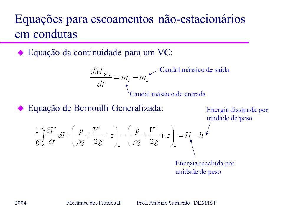 2004Mecânica dos Fluidos II Prof. António Sarmento - DEM/IST u Equação da continuidade para um VC: Equações para escoamentos não-estacionários em cond