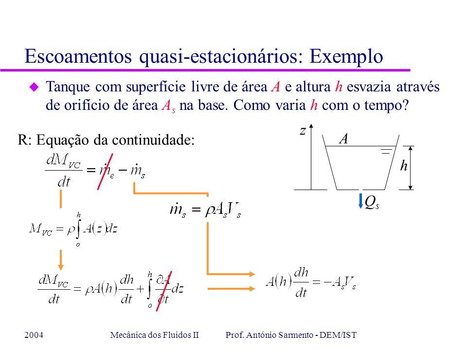 2004Mecânica dos Fluidos II Prof. António Sarmento - DEM/IST R: Equação da continuidade: u Tanque com superfície livre de área A e altura h esvazia at